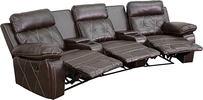 Flash Furniture Reel Comfort Series 3-Seat Reclining Brown LeatherSoft Theater Seating Unit with Curved Cup Holders