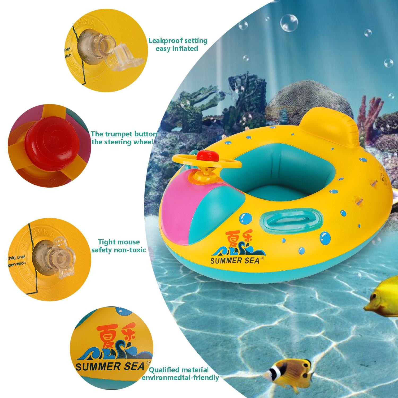 Goodid Flotador para bebé con asiento,respaldo,techo del sol,barca bebé de piscina: Amazon.es: Juguetes y juegos