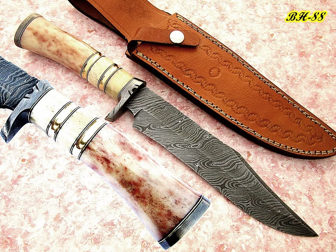 REG-BH-88, Handmade Damascus Steel 13.00 Inches Bowie Knife – Colored Bone Handle with Damascus Steel Guard