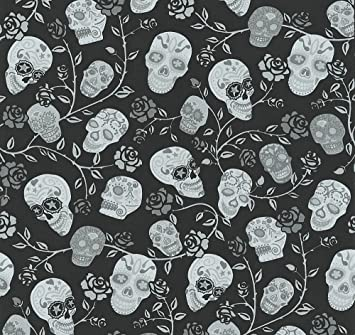 P S International Skulls Rose Pattern Wallpaper Glitter Mexican Motif Metallic Black 13383 10