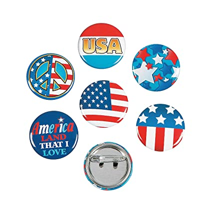 Amazon com: Fun Express - Patriotic Mini Buttons for Fourth