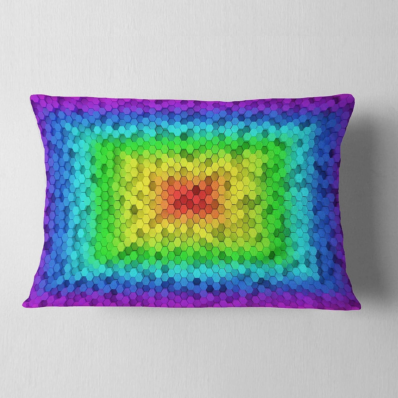 Printed 12 x 20 Designart CU16415-12-20 Random Elevated Hexagon Columns Abstract Lumbar Cushion Cover for Living Room Insert Sofa Throw Pillow