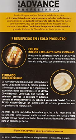 Llongueras Advance Tinte de Cabello Permanente Tono #7.34 Rubio Dorado Cobrizo