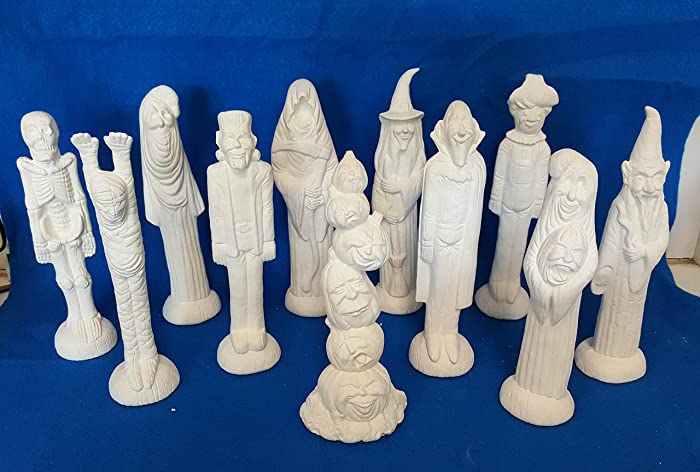 Amazon com: Tall Halloween Set of 11 unpainted ceramic bisque ready