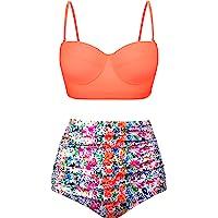 ca5f94dfa5b33 Angerella Women Vintage Polka Dot High Waisted Bathing Suits Bikini Set