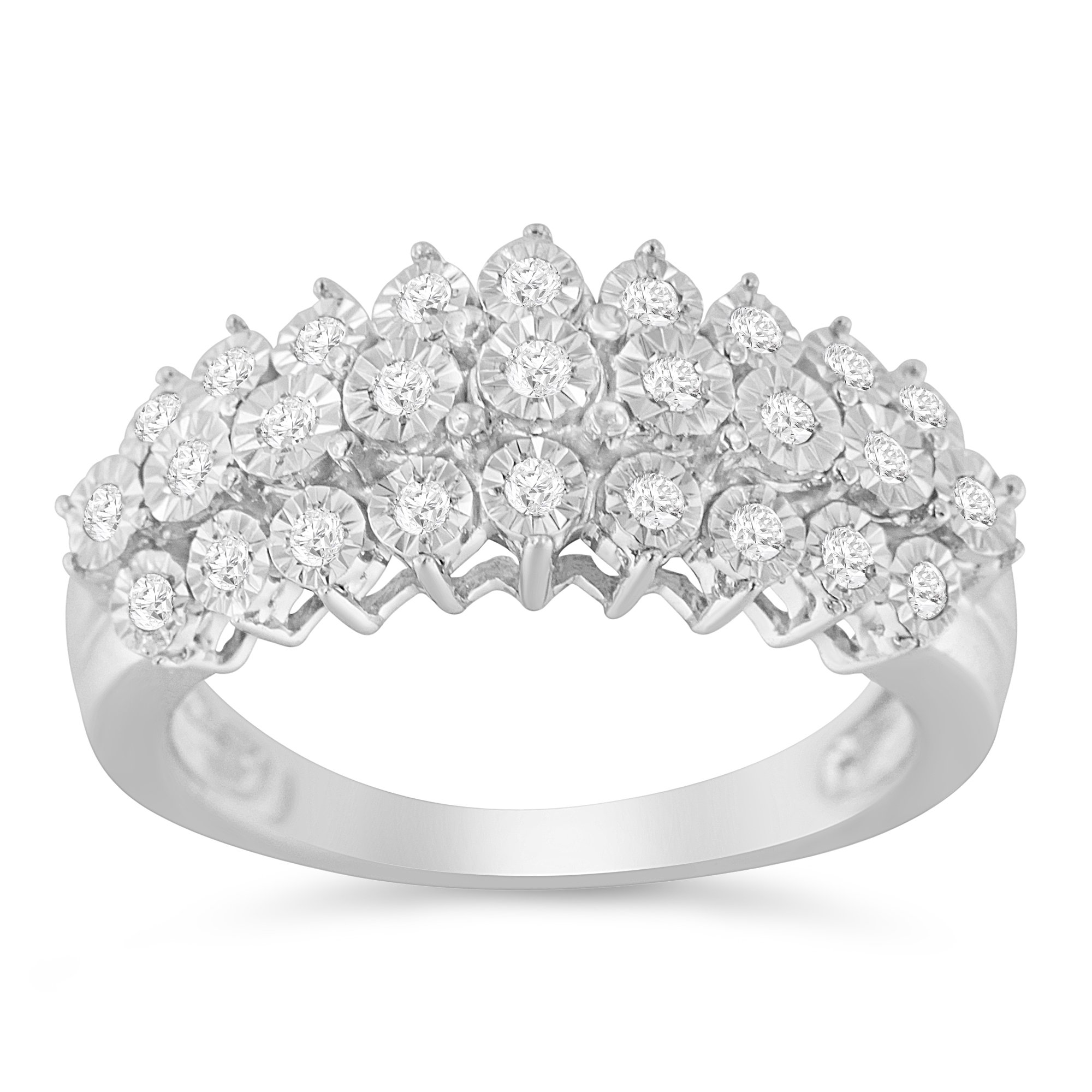 Sterling Silver Rose Cut Diamond Three Row Modern Band Ring (0.3 cttw, I-J Color, I2-I3 Clarity)