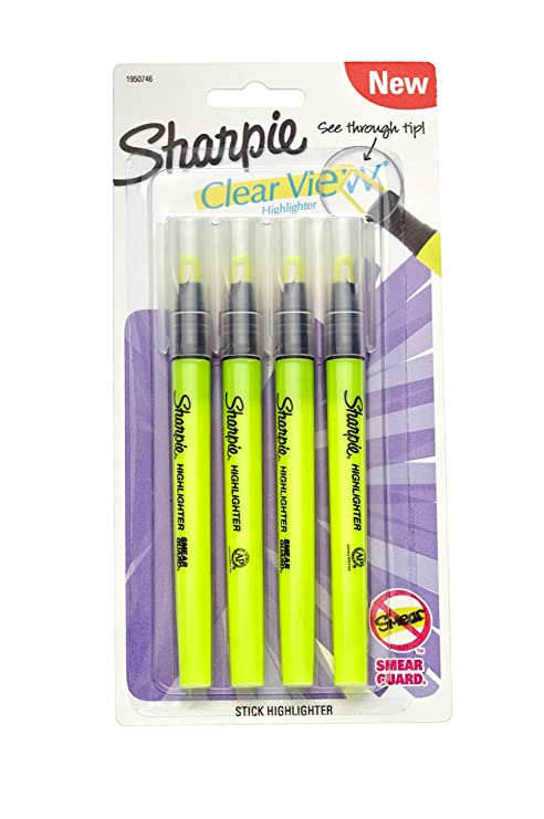 Sharpie  Highlighter Pens clear view pack of 4 yellow