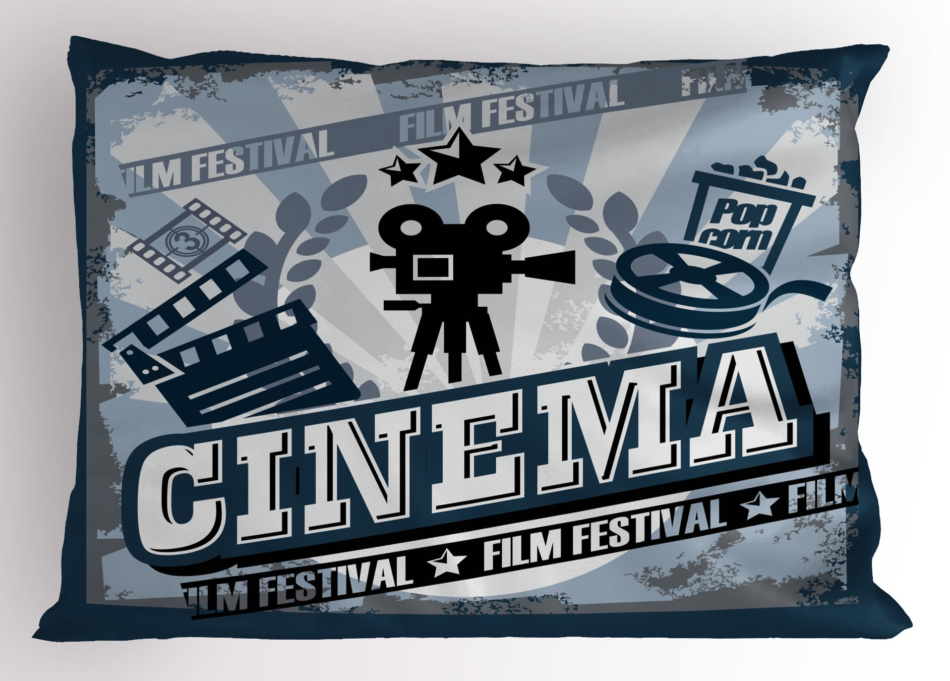 Ambesonne Movie Theater Pillow Sham, Vintage Cinema Poster Design with Grunge Effect and Old Fashioned Icons, Decorative Standard King Size Printed Pillowcase, 36 X 20 Inches, Blue Black Grey