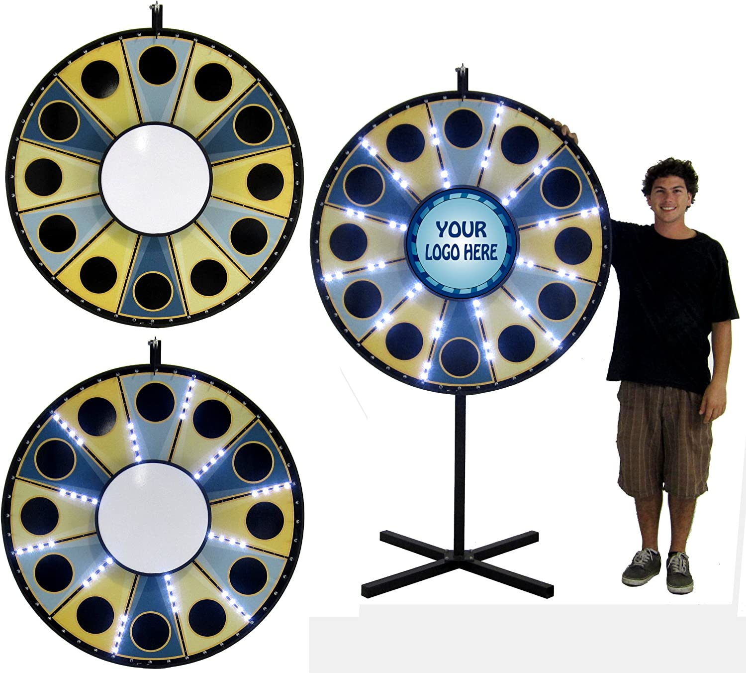 48in LED Lighted Insert Your Own Graphics Magnetic Prize Wheel with Custom Stationary Logo