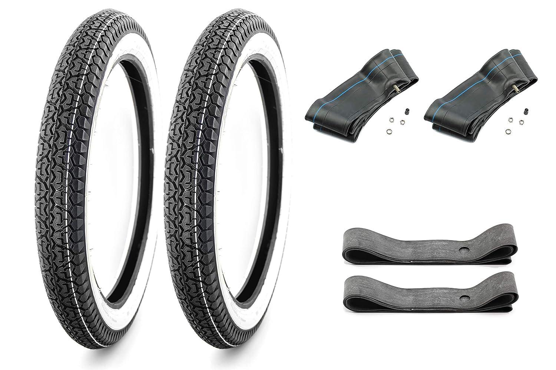 2 3//4 x 17 5 f/ür Mockik Mofa 2x Schlauch SET: 2 Weisswand Reifen inkl 2x Felgenband 2,75-17