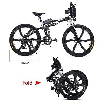 Tomasa Bicicleta de Montaña Eléctrica Plegable 26 Pulgadas 27 Velocidad con Batería de Lon de Litio