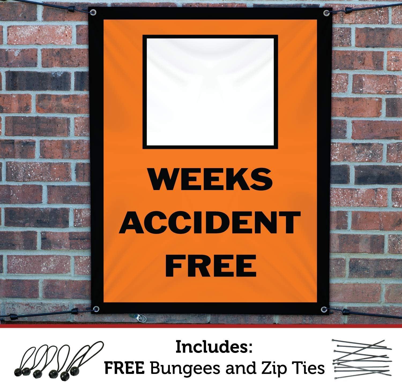 HALF PRICE BANNERS|Blank Weeks Accident Free Vinyl Banner-Indoor//Outdoor 4X12 Foot-Orange|Includes Ball Bungees /& Zip Ties|Easy Hang Sign-Made in USA