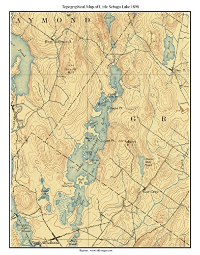 Topography Map Of Maine.Amazon Com Little Sebago Lake Ca 1898 Usgs Old Topographical Map