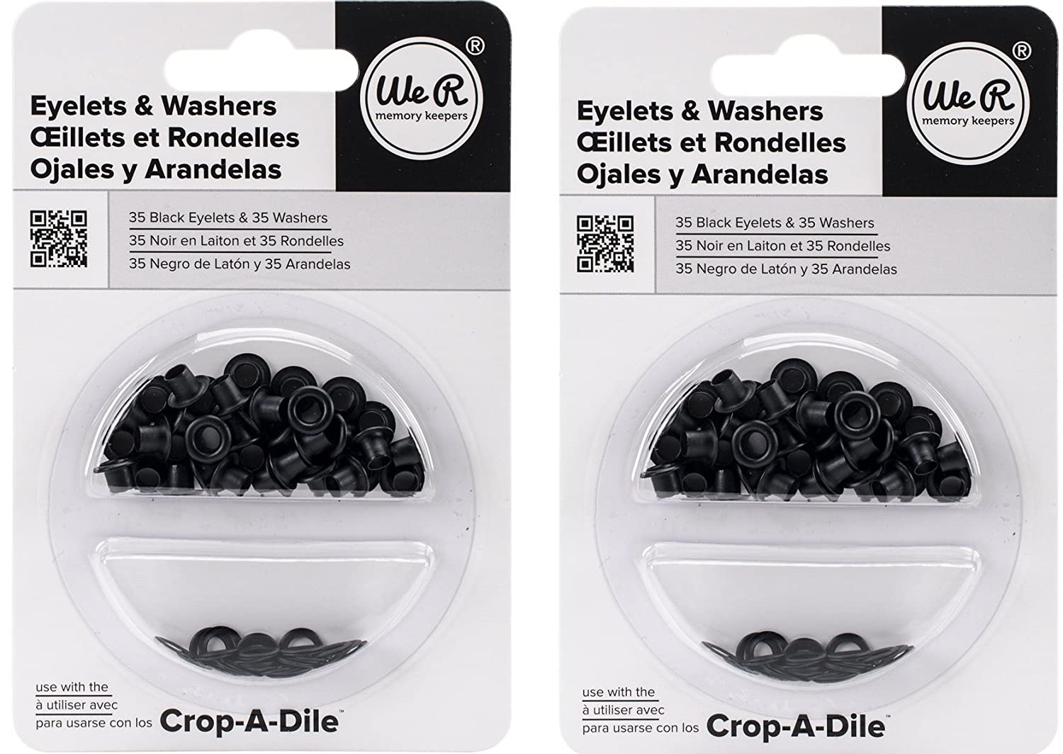 Eyelet and Washer - Black - 70 Pieces We R Memory Keepers 42219-8