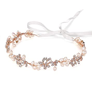 Amazon Com Ammei Luxury Rose Gold Bridal Headbands With Brilliant