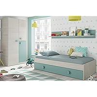 Pack Muebles Dormitorio Juvenil Cama Nido Estante y Armario ropero Verde y Blanco 90x190 cm Sin