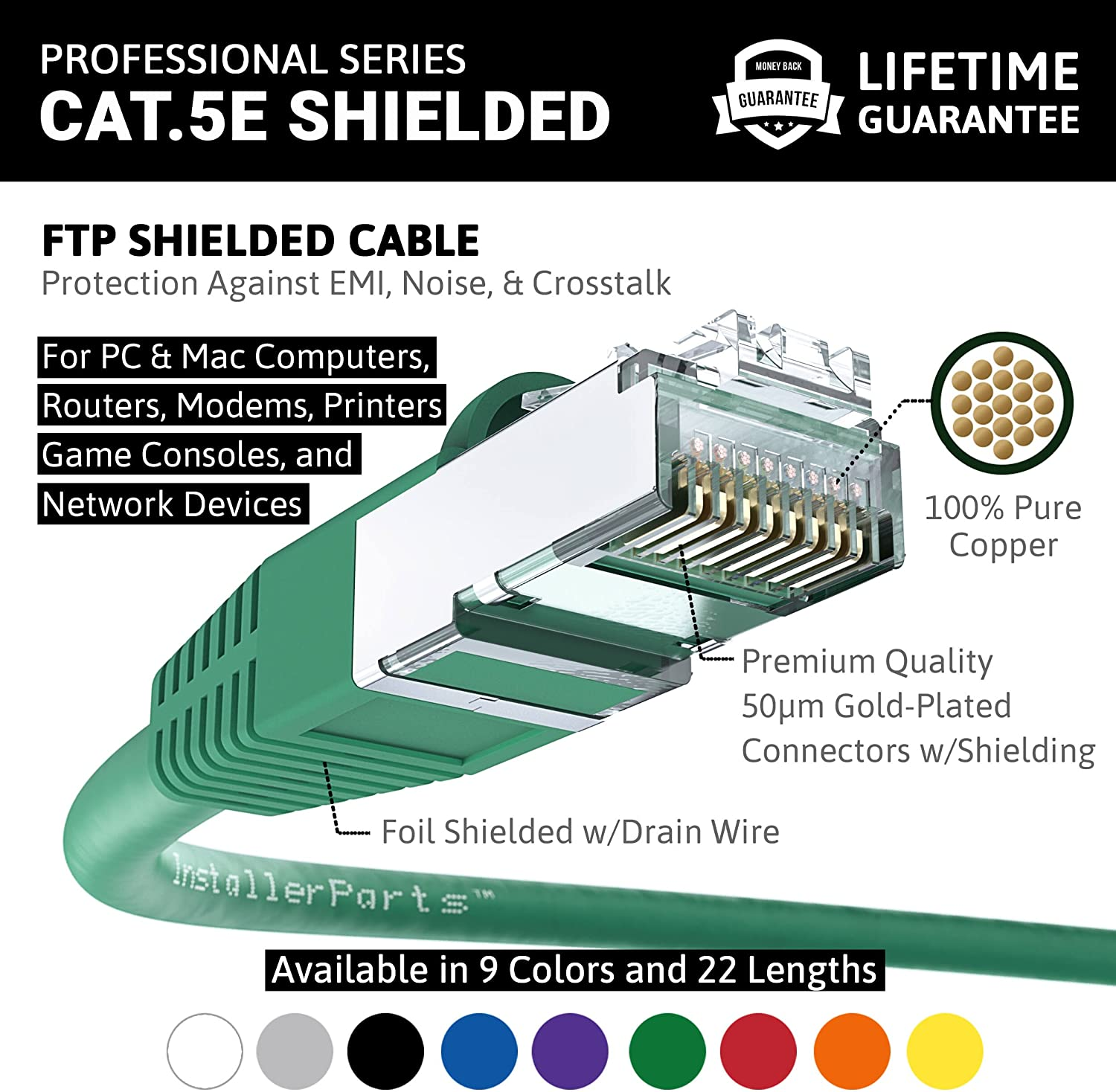 Black 350MHZ 1Gigabit//Sec Network//Internet Cable 5 Pack Ethernet Cable CAT5E Cable Shielded Booted 1 FT FTP InstallerParts Professional Series