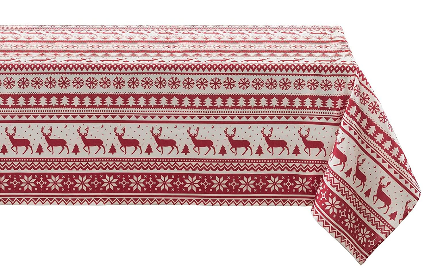 BENSON MILLS Nordic Christmas Herringbone Printed Rectangle Tablecloth, 60 by 84-Inch Creative Dining Group 45110