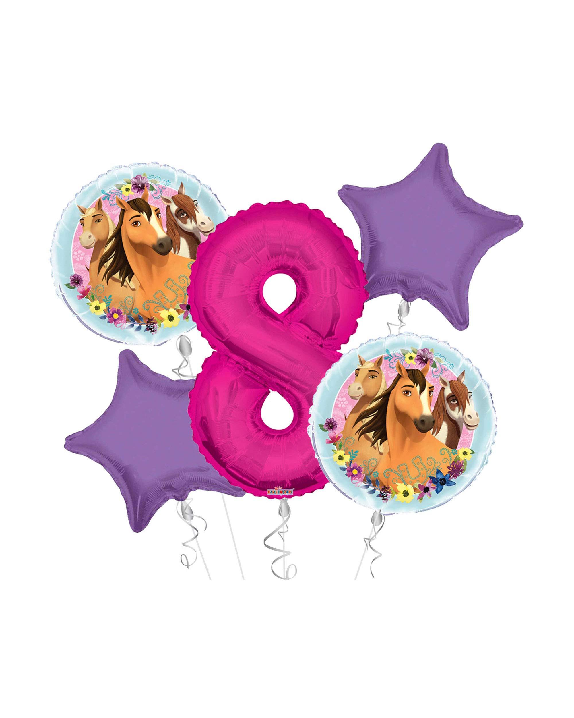 Anagram/Kaleidoscope Spirit Riding Free Happy Birthday Balloon Bouquet 5 pc, 8th Birthday, | Viva Party Balloon Collection