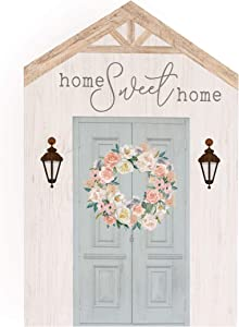 P. Graham Dunn Home Sweet Home Floral Whitewash House Shaped 5.5 x 8 Inch Pine Wood Block Tabletop Sign