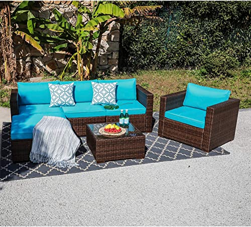 OC Orange-Casual Outdoor Furniture Sectional Sofa Patio Conversation Sets Brown Wicker