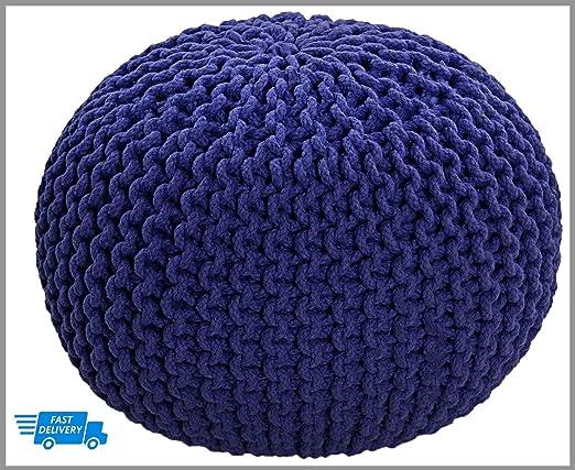 Knitted Pouffe Taburete de punto redondo grande marroquí de ...