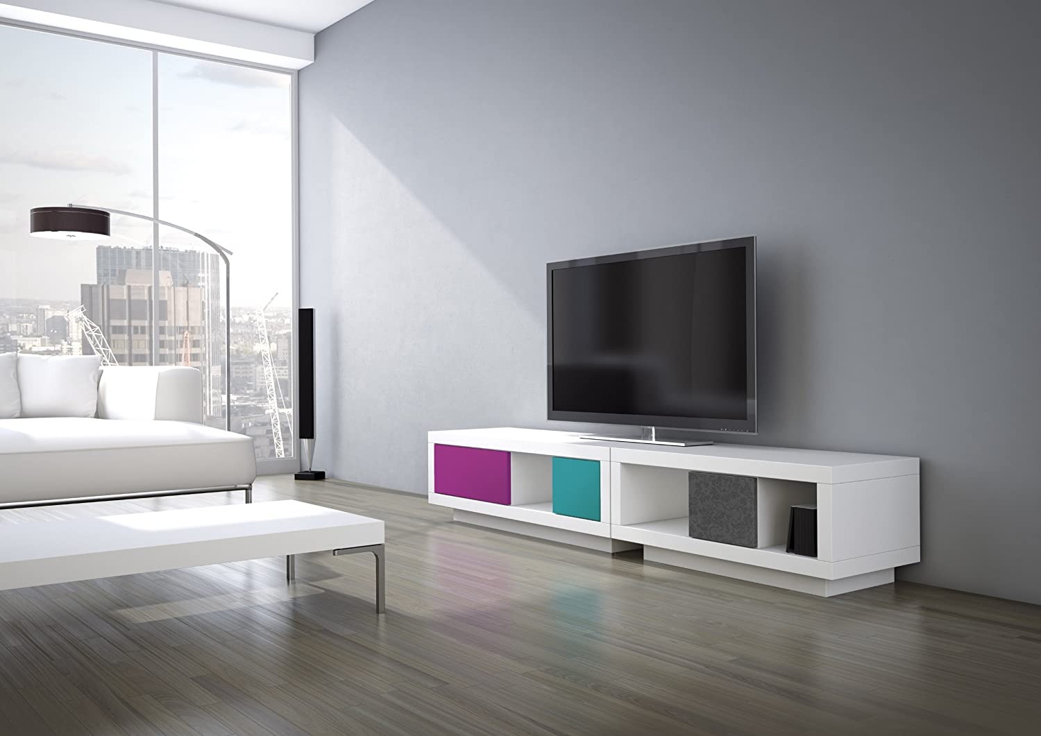 Schnepel VariC L Wide TV Stand, 92.5 x 440 x 400 cm, White and Blue Green