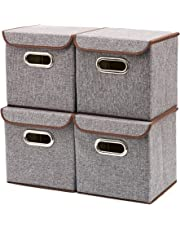 Storage Boxes, [4-Pack] EZOWare Linen Fabric Foldable Storage Cubes Bin Box Containers Drawers with Lid - Gray for Office Nursery Bedroom Shelf