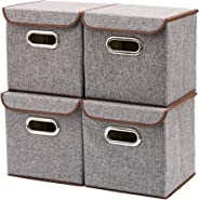 Storage Boxes, [4-Pack] EZOWare Linen Fabric Foldable Storage Cubes Bin Box Containers Drawers with Lid - Gray for Office Nur