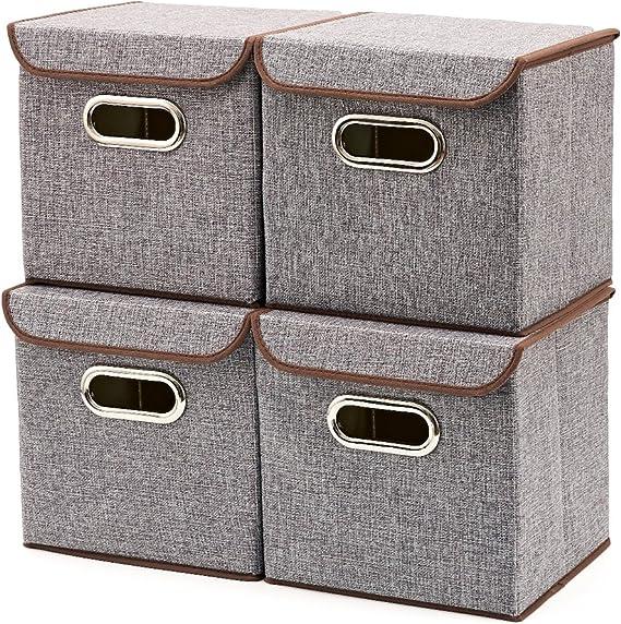 EZOWare Caja de Almacenaje x 4 unidades, Almacenaje Juguetes, Caja para Ropa: Amazon.es: Hogar