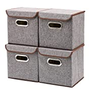 EZOWare Storage Bins [4-Pack] Linen Fabric Foldable Basket Cubes Organizer Boxes Containers with Lid - Gray for Office Nursery Shelves
