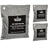 California Home Goods 3 Pack - Natural Home Deodorizer Bags (2X 200g & 1x 500g), Naturally Activated Bamboo Air Purifying Bag, Charcoal Colored Unscented Bags