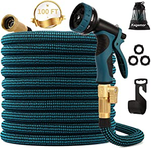 "kegemor Expandable Garden Hose 100ft Upgraded,Flexible Lightweight Water Hose with 9 Way Spray Nozzle,Durable 4-Layer Latex Core,3/4"" Solid Brass Fittings,Easy Store No Kink Leakproof Expanding Pipe"