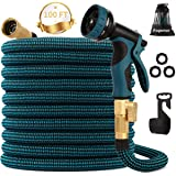 """kegemor Expandable Garden Hose 100ft Upgraded,Flexible Lightweight Water Hose with 9 Way Spray Nozzle,Durable 4-Layer Latex Core,3/4"""" Solid Brass Fittings,Easy Store No Kink Leakproof Expanding Pipe"""