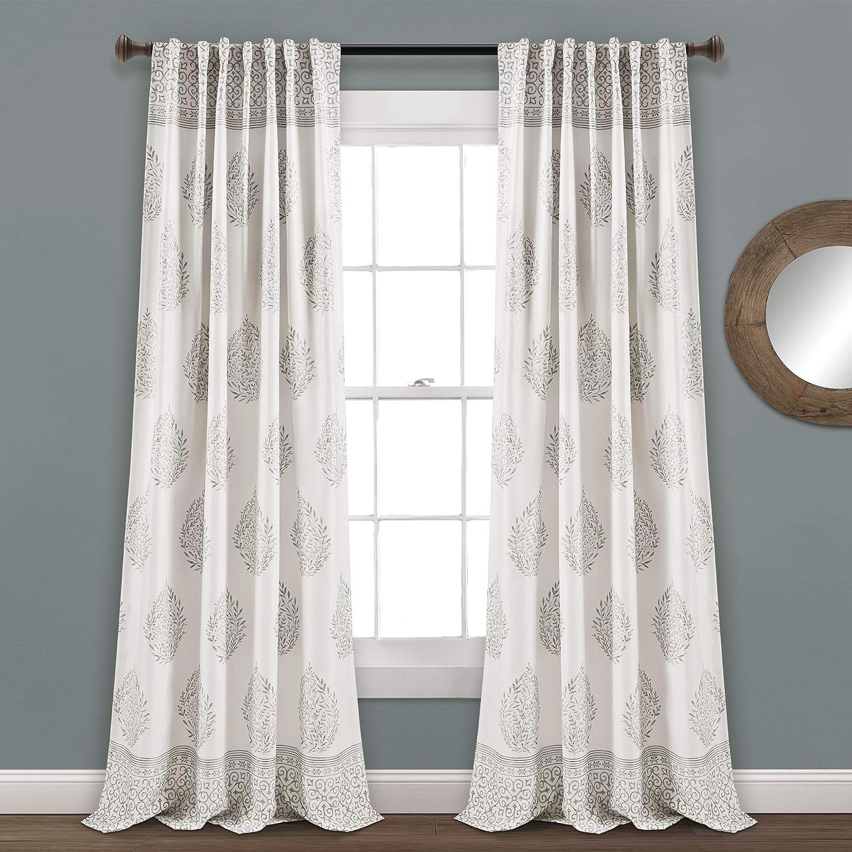 "Lush Decor, Gray Teardrop Leaf Curtains Room Darkening Window Panel Set for Living, Dining, Bedroom (Pair), 95"" x 52, 95"" x 52"""