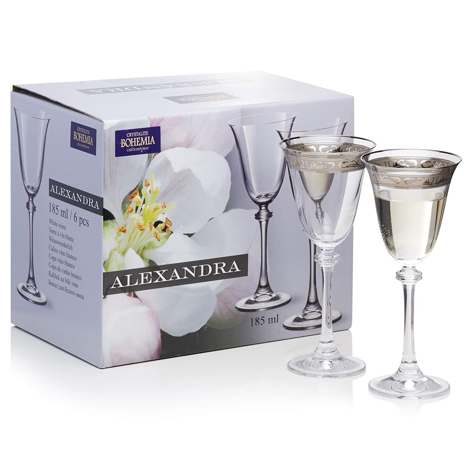 Amazon.com | Decorative Crystal Wine Glasses Set of 6 / Painted, Aerating, Dailyware, Bohemia Crystal, Durable and Handcrafted / 6.25 ounces (185 ...