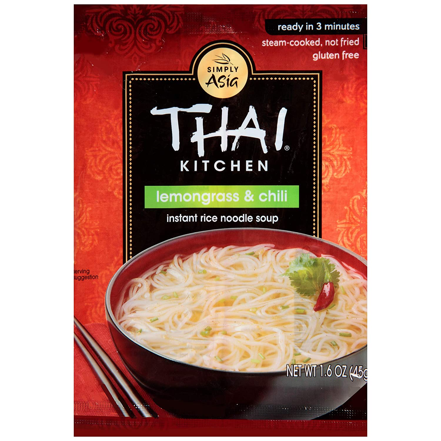 Thai Kitchen Gluten Free Lemongrass & Chili Instant Rice Noodle Soup, 1.6 oz (Pack of 12)