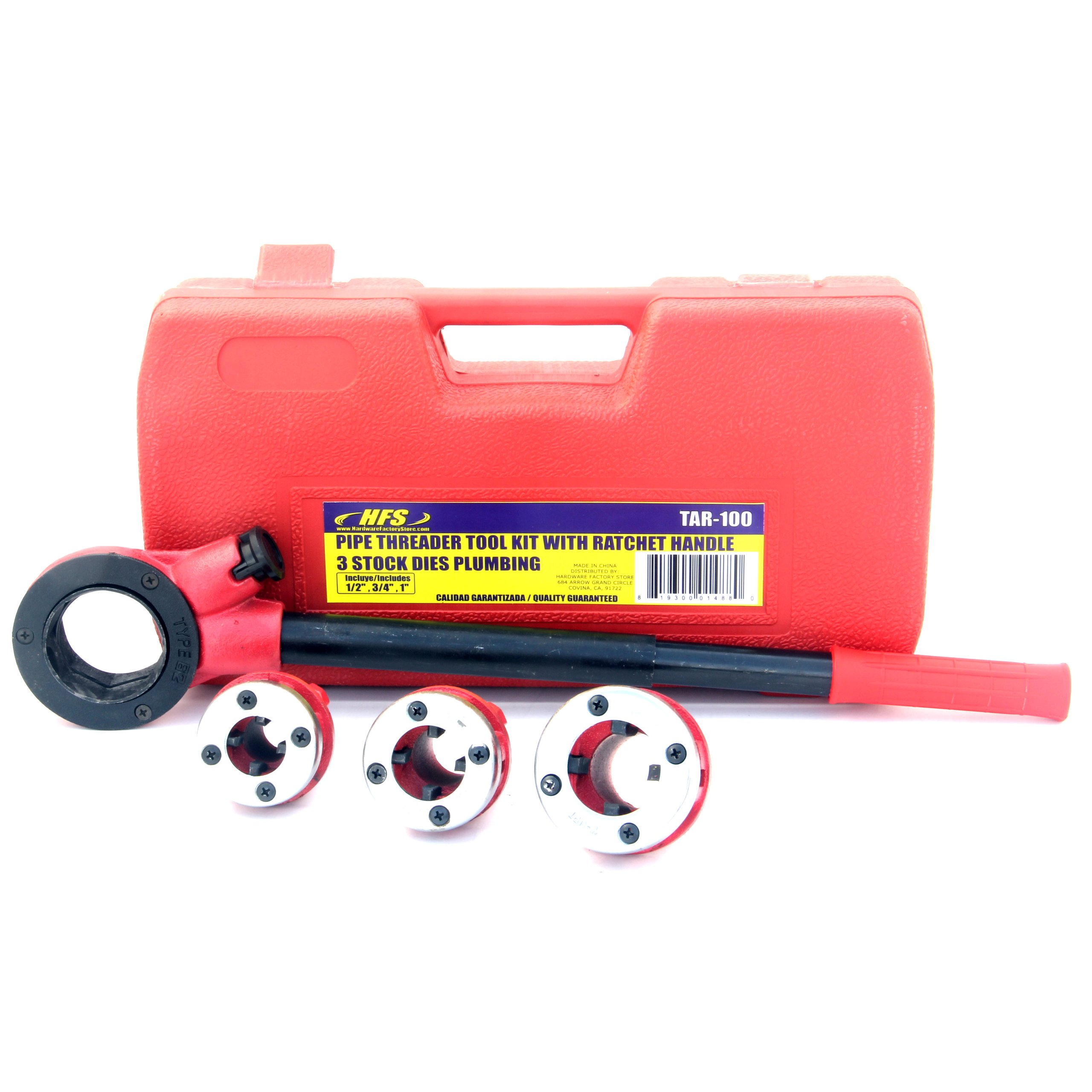 HFS (R Pipe Threading Tool with Ratchet Handle - 1/2'', 3/4'', 1''