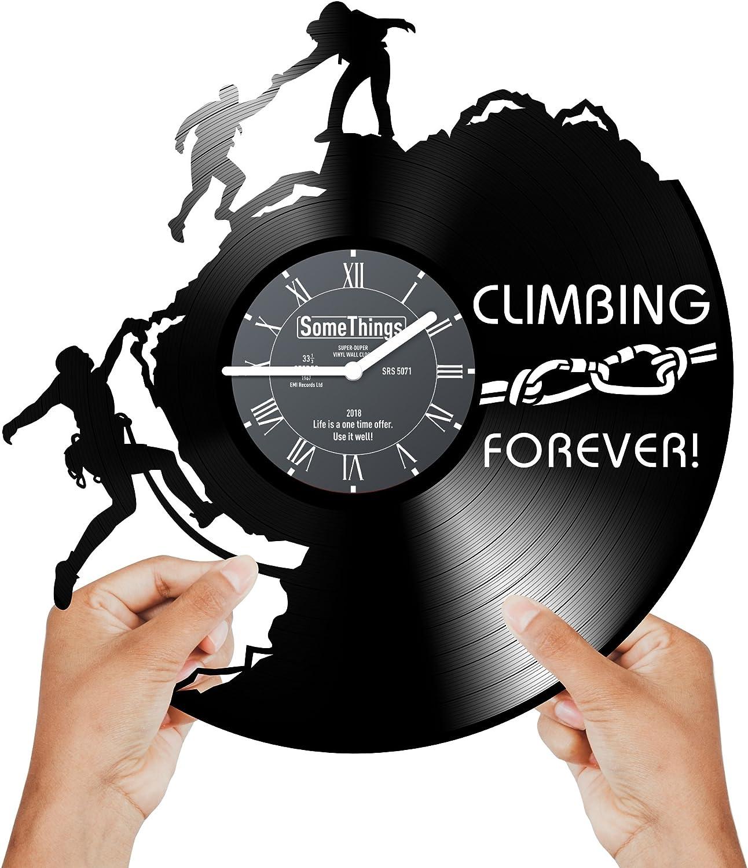 Climbing Vinyl Record Clock - Rock Climbing Gifts for Climbers Men Women Kids Boys and Girls - Mountain Climb Mount Man Decorative Room Decorations Artwork - Climber Clock Wall Décor Art Gift Black