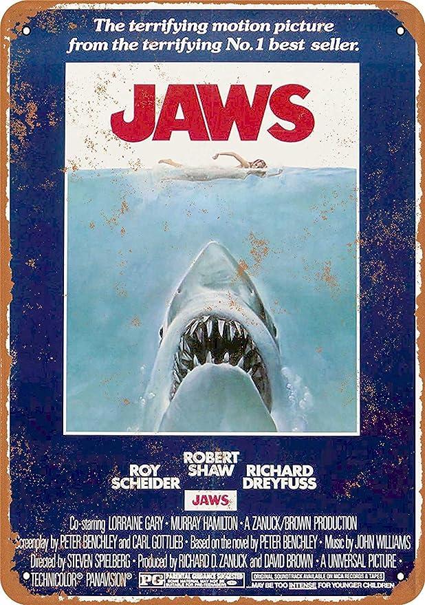 Jaws Shark Póster De Pared Metal Retro Placa Cartel Cartel De Chapa Vintage Placas Decorativas Poster por Café Bar Garaje Salón Dormitorio