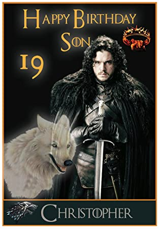 Personalised Game Of Thrones Inspired Jon Snow Birthday Card
