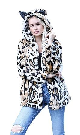 6b67d2507810 Women's Leopard Faux Fur Coat Vintage Warm Long Sleeve Parka Jacket Outwear  (Small, Hooded