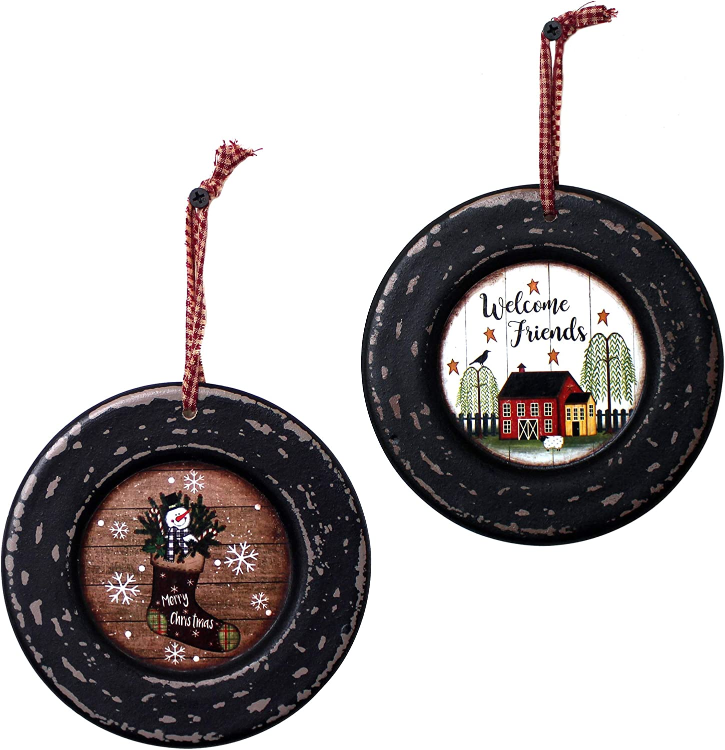 CVHOMEDECO. Primitives Rustic Homespun Hanging Decorative Plates Christmas Tree/Wall Hanging Décor Art, 5-3/4 Inch, Set of 2 (Boot & Farmhouse)