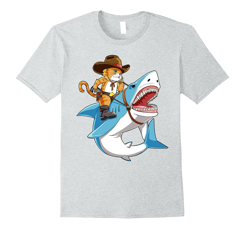 2ba967d4 Cat Riding Shark T-shirt Funny Kitty Kitten Cowboy hat Gifts-ah my shirt  one gift