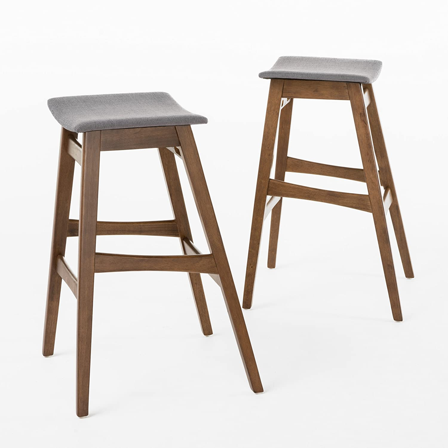 GDF Studio Oster Mid-Century Oxford Grey Fabric Walnut Finish Bar Stool Set of 2