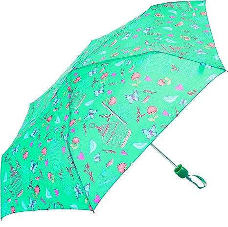 El mundo del paraguas – estampado mariposas y pájaros multicolores – Susino Paraguas plegable, 24