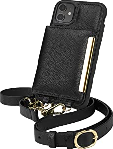 Smartish iPhone 11 Crossbody Case - Dancing Queen [Purse/Clutch with Detachable Strap & Card Holder] - Stiletto Black-Gold