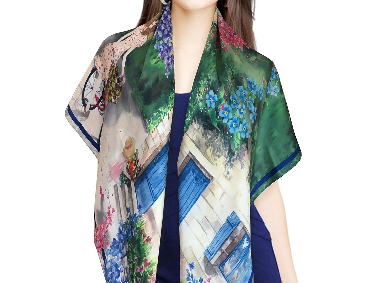 'One Fine Summer' Silk Satin premium scarf, size 100x100 cm