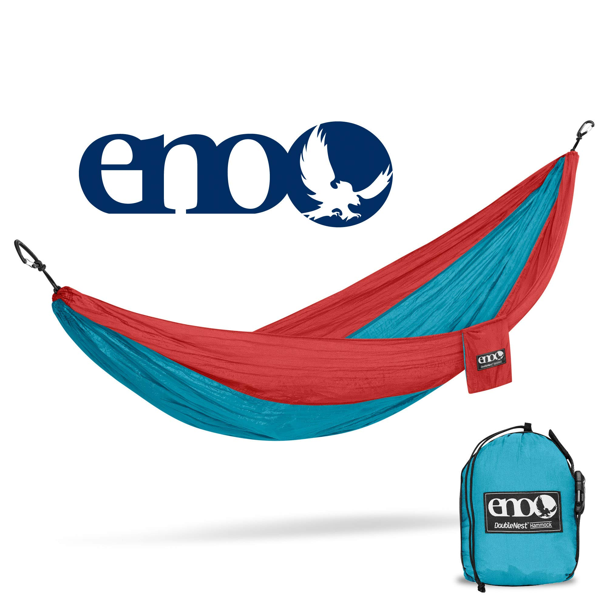 ENO - Eagles Nest Outfitters DoubleNest Hammock, Portable Hammock for Two, Aqua/Red
