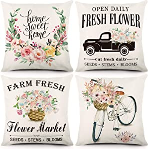 ZJHAI Spring Pillow Covers 18x18 Inches Set of 4 Farmhouse Pillow Covers Flower Spring Decorations Farmhouse Throw Pillowcase Linen Cushion Case for Home Decorations